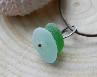 Sea Glass pendant necklace on antiqued brown leather cord - kelly green and seafoam - oxidized silver