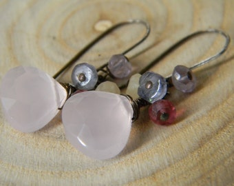 SALE soft pink chalcedony earrings with iolite, pink quartz, yellow jade and amethyst - oxidized silver