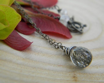 petite black tourmalinated quartz necklace - oxidized silver