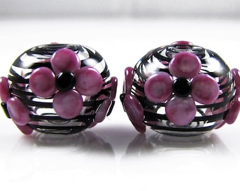 Pink Flowers and Black Swirl Hollow Lampwork Glass Bead Pairs