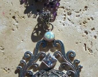 25% SALE Bone Face Goddess Pendant Necklace Opals White Topaz Gift for Her Under 100