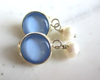 Light Blue and White Pearl Clip On Earrings. Baby Blue Clip On Earrings. Blue Dangle Clip Ons.