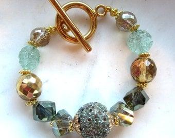 Green Crystal Toggle Bracelet. Olive Green. Celedon Green Bracelet. Gold Toggle. Gifts for Her. Under 50.