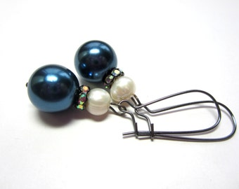 Tahitian Blue Pearl Earrings. Blue and White Pearl Earrings. Tahitian Glass Pearl Earrings.