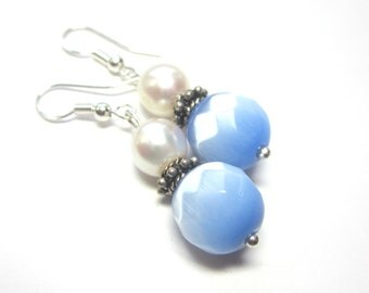 Periwinkle Blue and White Earrings.  Periwinkle Blue and White Pearl Earrings.  Blue Cats Eye and Pearl Earrings.