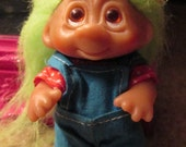 Vintage Troll Doll Collectible - Green Hair, Blue Overalls, Red Polka-Dot T-Shirt, adorable