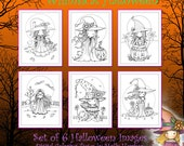 Whimsical Halloween Set of 6 Digital Coloring Pages - Molly Harrison - Witches and a Vampire - Cute, Coloring, Digi stamps Fantasy Art