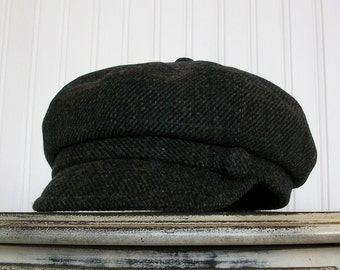 Womens Hat, Black Plaid, Black Wool Hat, Newsboy Cap, Womens Newsboy Hat, Womens Caps - Made To Order