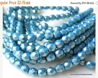 25% OFF Summer Sale Czech Glass Bead 6mm Faceted Round Bead - Halo Ethereal Azurite - 25