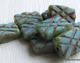 Czech Picasso Bead - Opaque Turquoise Picasso Czech Glass Bead Rectangle 13mm - 10 (G - 643)