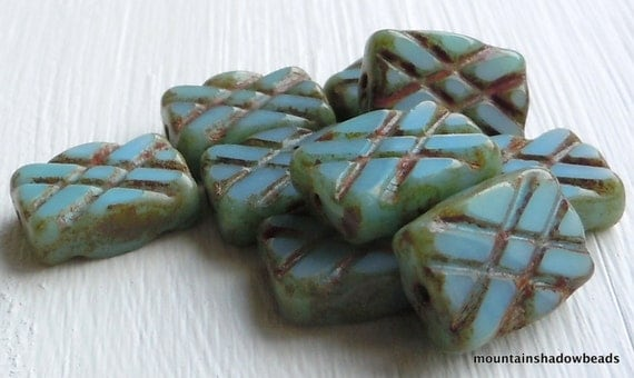 NEW - Opaque Turquoise Picasso Czech Glass Bead Rectangle 13mm - 10 (G - 372)