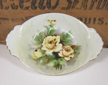 Vintage Hand Painted Bowl Dish Yellow Roses Retro Lenwile China Ardalt Japan Hand Painted