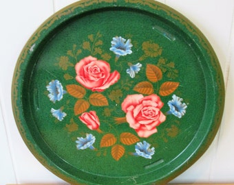 vintage round green rose floral tray