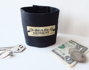 "Wrist  Money Cuff-    ""Secret Stash"" Black  "" YOUR CHOICE OF tagline - hide your cash, key, jewels, health info ,  hidden inside zipper..."