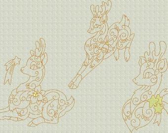 INSTANT DOWNLOAD Enchanting Christmas Reindeer Redwork Machine Embroidery Designs