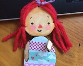 Small Recycled Art Doll raggedy Ann