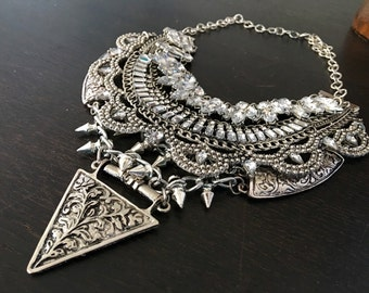 Multi Layered Silver boho Statement Necklace - Coin Crystal Collar - Rhinestone chain collar - crystal statement bohemian 2015 - NYE sparkle