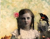 Sweet  vintage girl with flowers original  painting Heather Murray