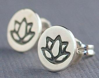 Lotus Earrings , Lotus Jewelry , Yoga Jewelry , Little Sterling Silver Studs
