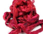 Recyceld Carded Sari Silk Fibre  -  Scarlet 50g