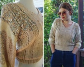 OATMEAL 1970's 80's Vintage Beige + Grey Blue Cropped Wool Angora Sweater with Cinch Waist // size Small Med // by NANNELL