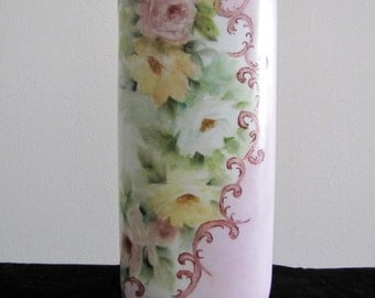 Vintage Porcelain Bud Vase, Hand-Painted and Signed; pink with yellow roses