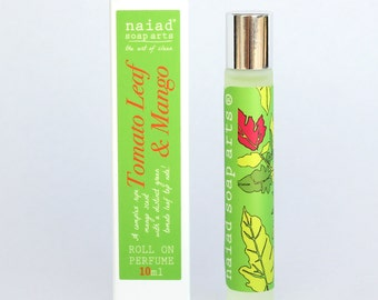 Tomato Leaf and Mango Roll on Perfume - vegan friendly scent in coconut oil - 97% natural