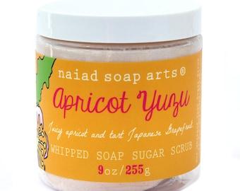 NEW - Apricot Yuzu Whipped Soap Sugar Scrub - vegan and cruelty free