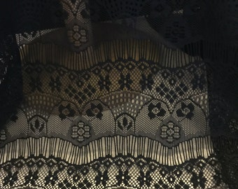 Black  Lace Fabric  Floral Eyelash Design