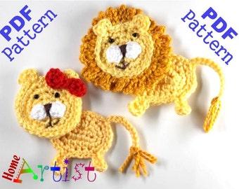 Lion Crochet Applique Pattern