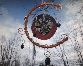 """Stained Glass Heart Mobile, Garden Sculpture, Copper, Window Hanging, Wedding, Garden Art, Home Decor, """" I Love You to the Moon and Back"""""""