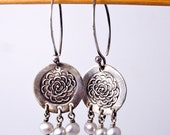 Reserved for mgalayda Old Rose Silver and Pearl Earrings