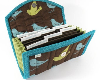 COUPON ORGANIZER - Lime and Turquoise Birds - Coupon Organizer Coupon Holder Coupon Wallet Brown