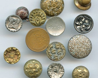 Lot of Victorian Metal Buttons Wholesale Bakers Dozen (13) Small Antique MORE AVAILABLE 2000