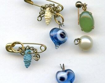 Vintage Destash Lot of Eclectic Charms, Glass, Evil Eyes, Jade, Etc. 2211