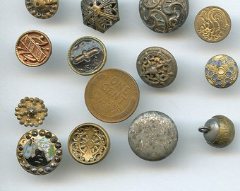 Lot of Victorian Metal Buttons Wholesale Bakers Dozen (13) Small Antique MORE AVAILABLE 2472