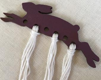 purple HARE embroidery floss organizer painted wood rabbit thread keep
