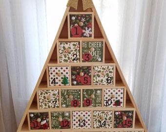 Christmas Tree Advent Calendar - Wooden Drawers - Wooden Advent Calendar - Contemporary Poinsettias Subway Art - Christmas Decor