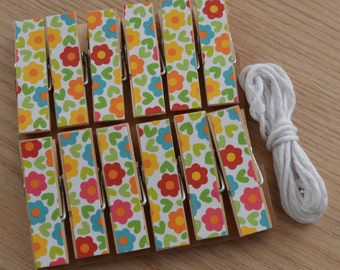 Fun Daisy Flower Clips w Twine for Photo Display - Chunky Little Clothespin Set of 12