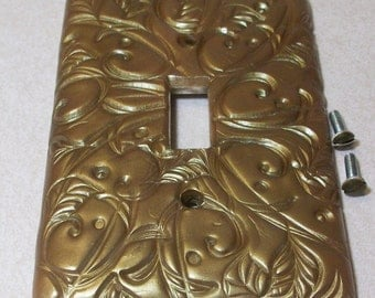 light switch cover metallic olive swirls dots and leaf design