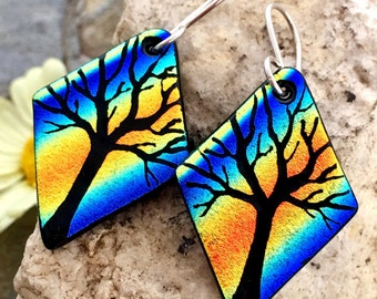 Tree Earrings Hand Etched Dichroic Fused Glass with Sterling Silver Hooks