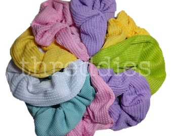 thermal scrunchies, set of 9 cotton scrunchies // 90s grunge style