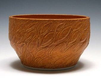 Rustic Orange Bowl with Leaf Carving