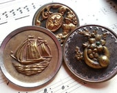 Three Large, Metal Picture Buttons. Antique, Victorian. SHABBY Backs. As Found.