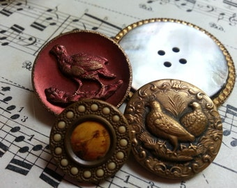 Four Lovely Antique Vintage Buttons. Metal. Victorian.