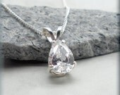 Pear Shaped CZ Necklace, Teadrop Necklace, Sterling Silver, Wedding Jewelry, Bridal Jewelry, Cubic Zirconia, April Birthstone