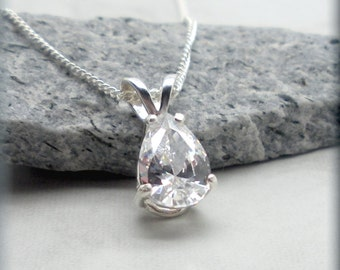 Teardrop Necklace, CZ Necklace, Sterling Silver, Wedding Necklace, Wedding Jewelry, Bridal Jewelry, Cubic Zirconia, April Birthstone  SN911