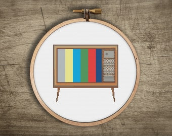 vintage cross stitch pattern ++ retro modern tv television craft ++ pdf INsTAnT DOwNLoAD ++ diy ++ hipster ++ handmade design