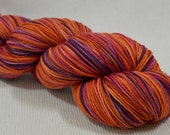 SALE Hand Dyed Merino Silk Sock Yarn 4 ounces 434 yards Sunset OOAK Multi Color