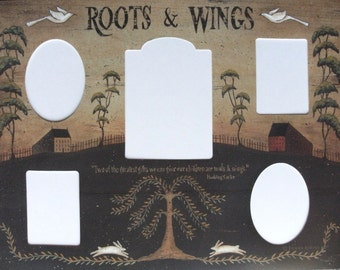 Photomat, ROOTS & WINGS, 5 openings. Primitive Country Folk Art  Family, Children Quotation 12x16 Photo Mat Print by Donna Atkins.